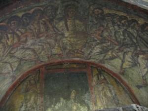 Pictura cu Cina cea de Taina din Catacombele Sfintei Domitilla din Roma (sec. IV)